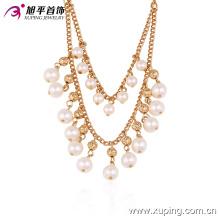 42721 Collar de perlas de cobre chapado en oro de elegante estilo lujoso al por mayor de joyería de las mujeres