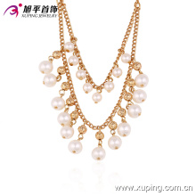42721 Wholesale fancy women jewelry elegant style luxurious design gold plated copper pearl necklace