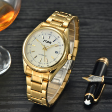 create your own brand gold plated men's mechanical wrist watch
