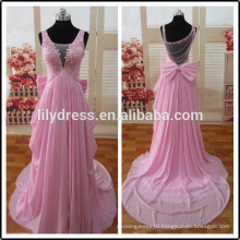 Chiffon Pleated Crystal Beading Customized Prom Party Evening Dresses Vestidos PD031 real sample dress