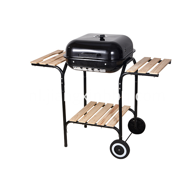 Square Charcoal Grill With Two Side Woodboard