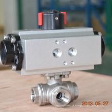 POV Shanghai fez a válvula de esfera pneumática da linha interna de 3 maneiras de aço inoxidável
