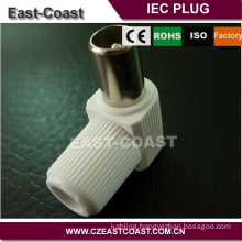 Preminum solderless White 9.5mm TV male iec connector angle