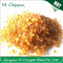 Chips de vidrio ámbar ligero triturado