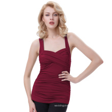 Belle Poque Sleeveless Cross Front Sweetheart Classic Wine Red Pinup Tank Tops BP000342-1