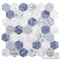 Matte Blue Pattern Hexagon Fliese für die Wand