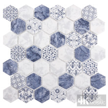 Azulejo hexagonal de patrón azul mate para pared