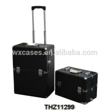 professional and luxury cosmetic trolley cases with a removalbe cosmetic case on the top