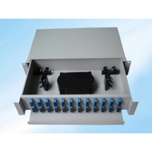 Marco de distribución de fibra óptica con montaje en bastidor deslizable, 48 fibras