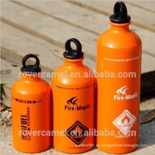 Botella de almacenamiento de líquidos de aluminio arce senderismo combustible combustible al aire libre almacenamiento botella de fuego