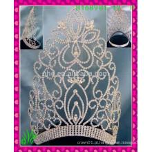 Novo design por atacado, folha de lâmina alibaba grande beleza de strass coroa tiaras
