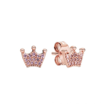 New 925 sterling silver tricolor crown wishing bone earrings European and American creative sparkling crown earrings female jewe