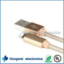 Intelligente USB-aufgeladene Daten geflochtene Atem-LED-Licht iPhone USB-Kabel