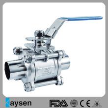 Type de soudure de robinet à tournant sphérique sanitaire 3A 3PC