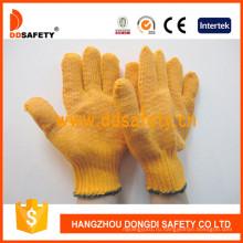 Хлопок трикотажные перчатки ПВХ точками Dkp202
