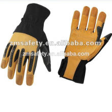 Golden genuine leather mechanic glove with rubber knuckle protection