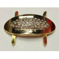 Sparking Egg-Shaped Alloy Shoe Buckle, Oval Metal Rhinestone Buckle for Shoes