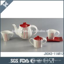 Jogo de chá da porcelana do estilo do russo para 2015 Canton justo, cor com projeto do decalque da linha do ouro
