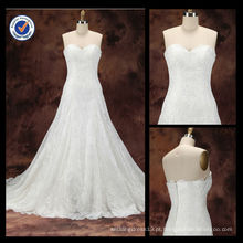 O último design personalizado 2014 Elegante Sexy Sheath Sweetheart Lace A-Line Com Sweep Train Vestido de casamento nupcial WA00094