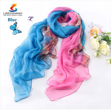 Lingshang 2015 new fashion design spring autumn silk women's thin silk scarf long beach wear fashion sunscreen scarf