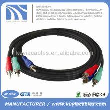3RCA Rouge Vert Bleu RGB Composant câble 6ft Vidéo HDTV Or