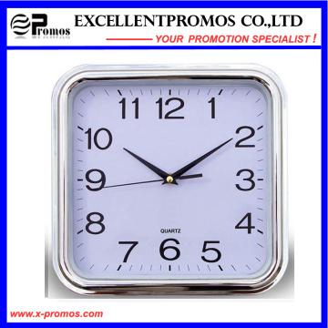 Silver Frame Logo Impression Square Plastic Wall Clock (Item27)