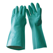 NMSAFETY unlined green nitrile chemical gauntlet nitrile gloves