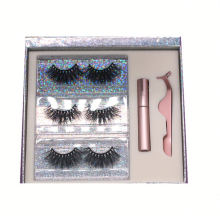 F116H Hitomi 3d Mink Eyelashes Strip 100% Cruelty Free Mink Lashes Fluffy 25mm Magnetic Eyelashes with Eyeliner and tweezers