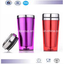 Pared doble de 16 onzas libre de BPA personalizada aislado de acero inoxidable taza, taza café, taza de Auto