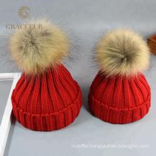 Custom brand fashion designer ladies black wool hats