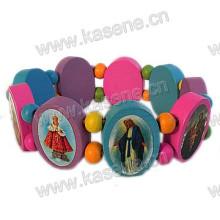 Heißes Verkaufs-Art- und Weisemehrfarben-religiöses hölzernes Armband mit Heilig-Bildern