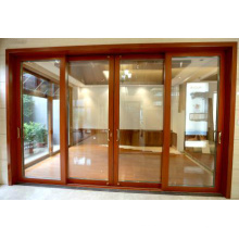 Woodwin Popular Product Double Tempered Glass Wood and Aluminium Sliding Door