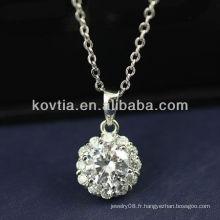Diamant de zircon cubique luxueux et pendentifs en argent sterling 925