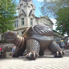 hochwertige lebensgroße Bronze Schildkröte Skulpturen Brunnen