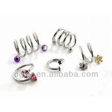 Spiral Twist Acero quirúrgico de oreja piercing pendientes