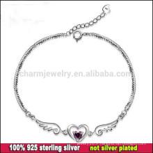 CYL002 Livraison gratuite! Bijoux en argent Vente en gros, ange ailes charme femmes 100% 925 bracelets en argent sterling avec coeur en cristal