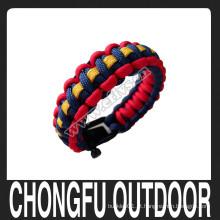 Três cores tecendo paracord pulseira moda acessories