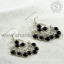 Wedding fine black onyx silver earring gemstone jewelry 925 sterling silver wholesale jewellery handmade india