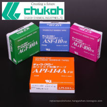 Adhesive tapes made of fluoroplastic and engineering plastic derivated materials. Manufactured by Chukoh Chemical. Made in Japan