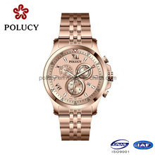 Factory OEM Stainless Steel Rose Gold Watch for Men