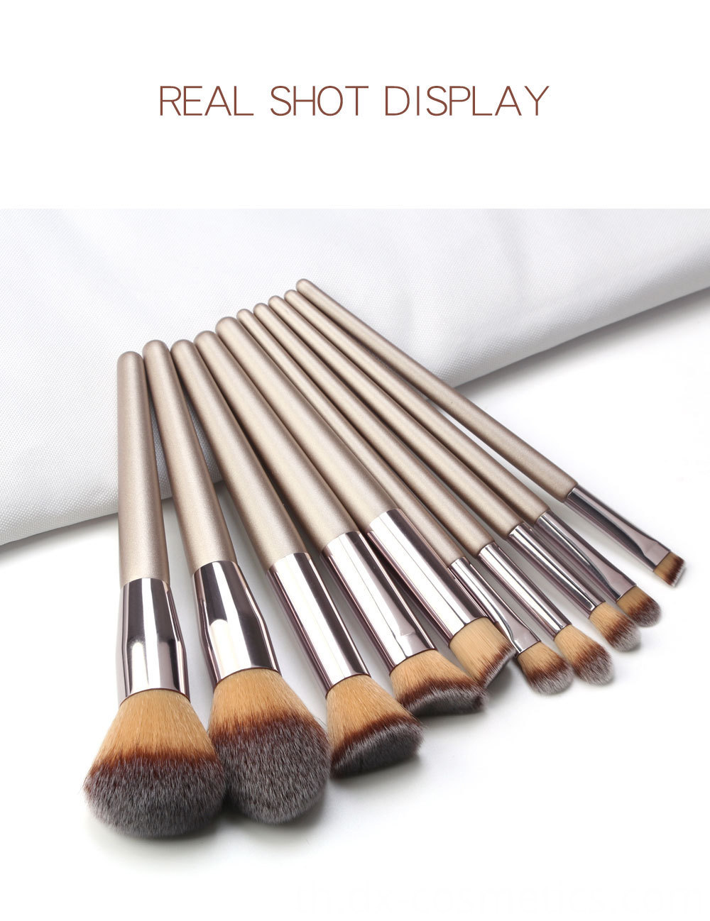 10 Piece Champagne Gold Makeup Brushes