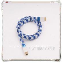 De haute qualité plaqué or en nylon bleu et blanc 1.5M NOUVEAU câble HDMI FLAT 1.3 pour Xbox 360 PS3 HDTV 1080