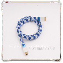 High Quality Gold Plated blue and white nylon 1.5M NEW FLAT HDMI Cable 1.3 For Xbox 360 PS3 HDTV 1080