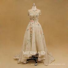 Frente curto curto longo vestido de noiva de renda com contas de renda