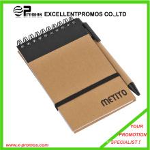 Notebook promocional personalizado reciclado barato com caneta (EP-N1083)