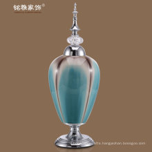 metal lid and base pottery vases in light blue color at promotional price for sale