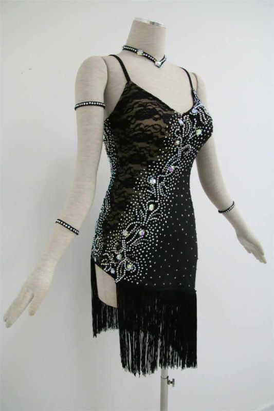 Black Competition Dance Costumes For Women