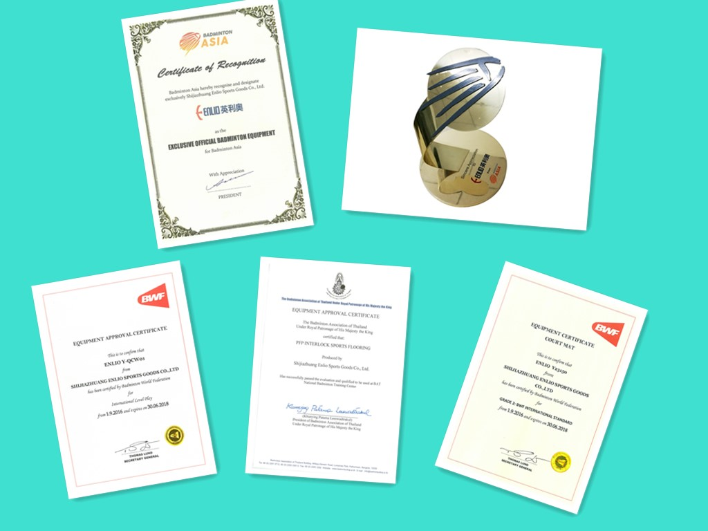 badminton flooring certificates