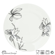 White porcelain with Decal Flower Dinner Plate