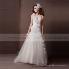 Sweetheart Line Pleated Tulle Wedding Dress With Handmade Flowers
